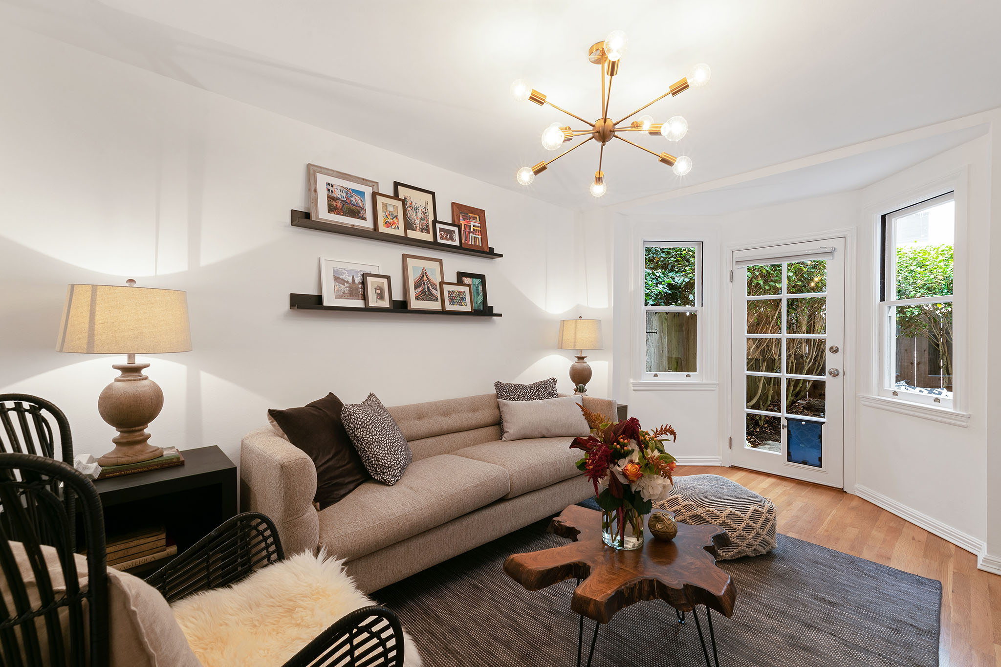 modern living room in San Francisco home for sale