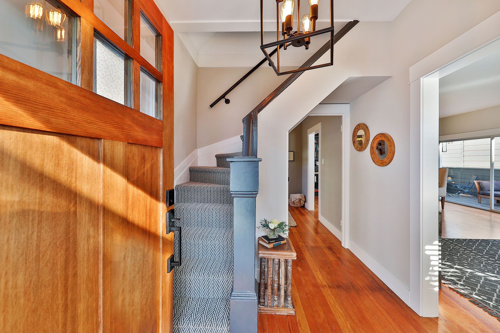 SF Real Estate - view through front door - stairs and hallway