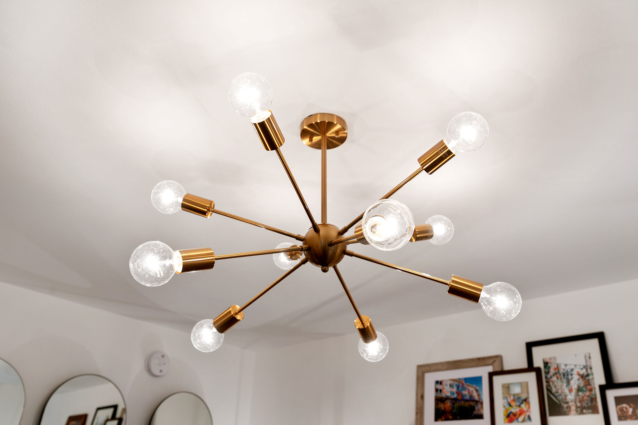 modern light fixture in SF home for sale
