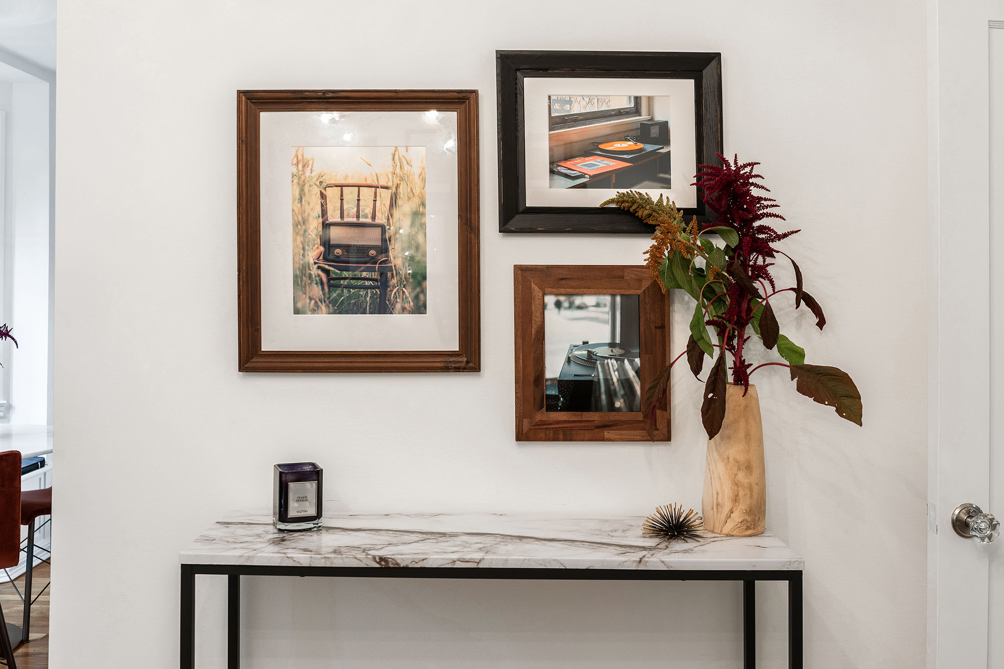 Entry wall with gallery wall in SF home