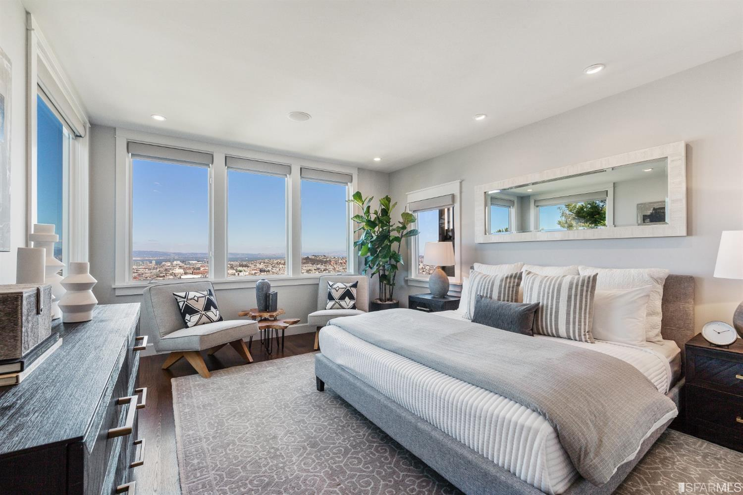 Modern bedroom with large windows overlooking the city