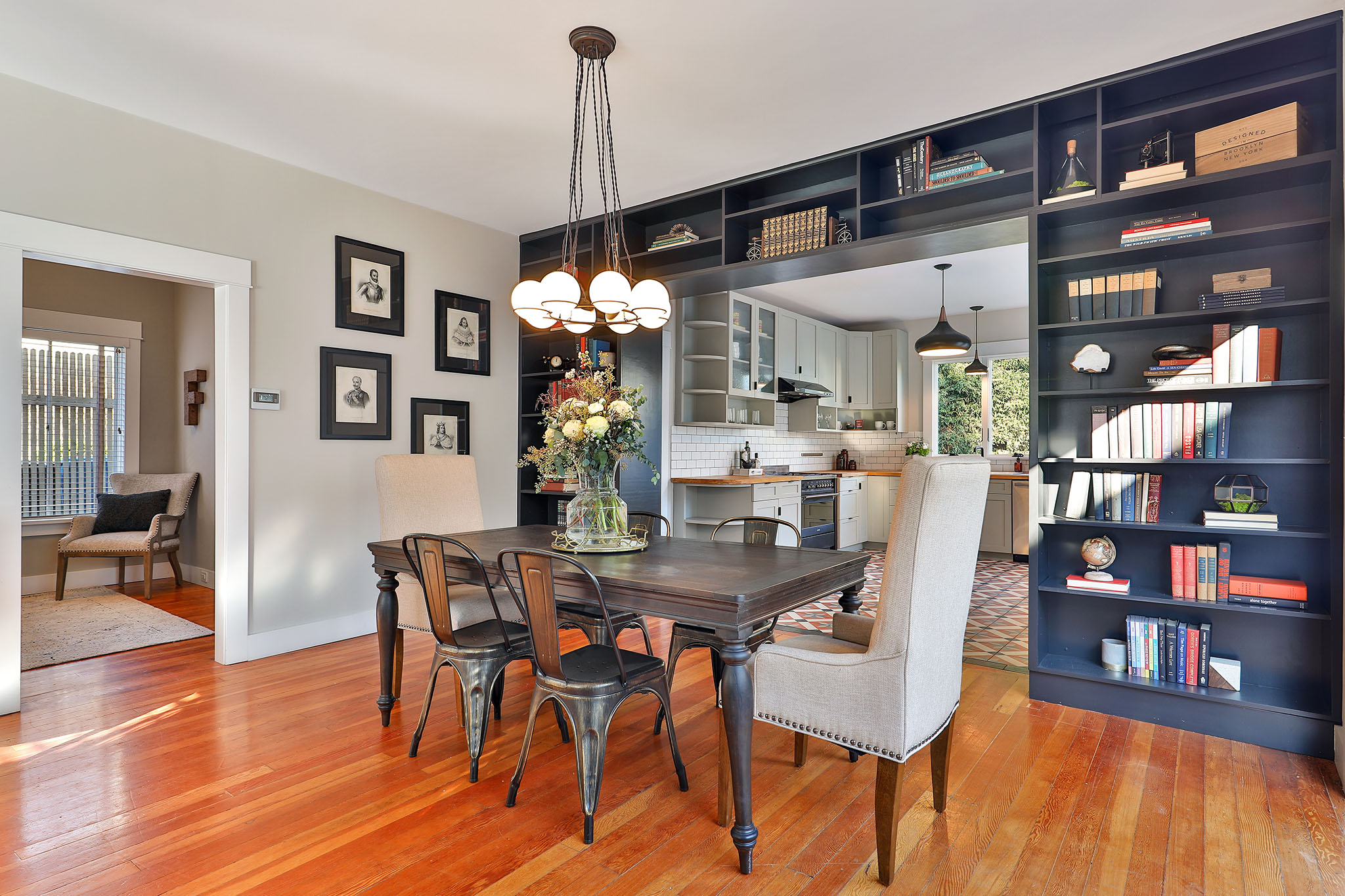 San Francisco Home - dining room with built in bookshelves