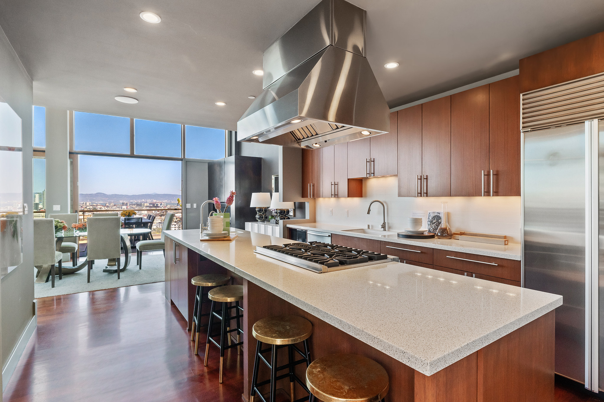 Kitchen with granite countertops and wood cabinets