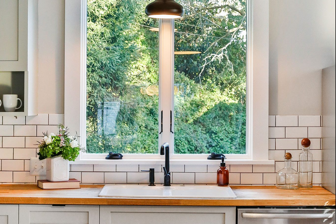 SF Home - kitchen sink with window and subway tile