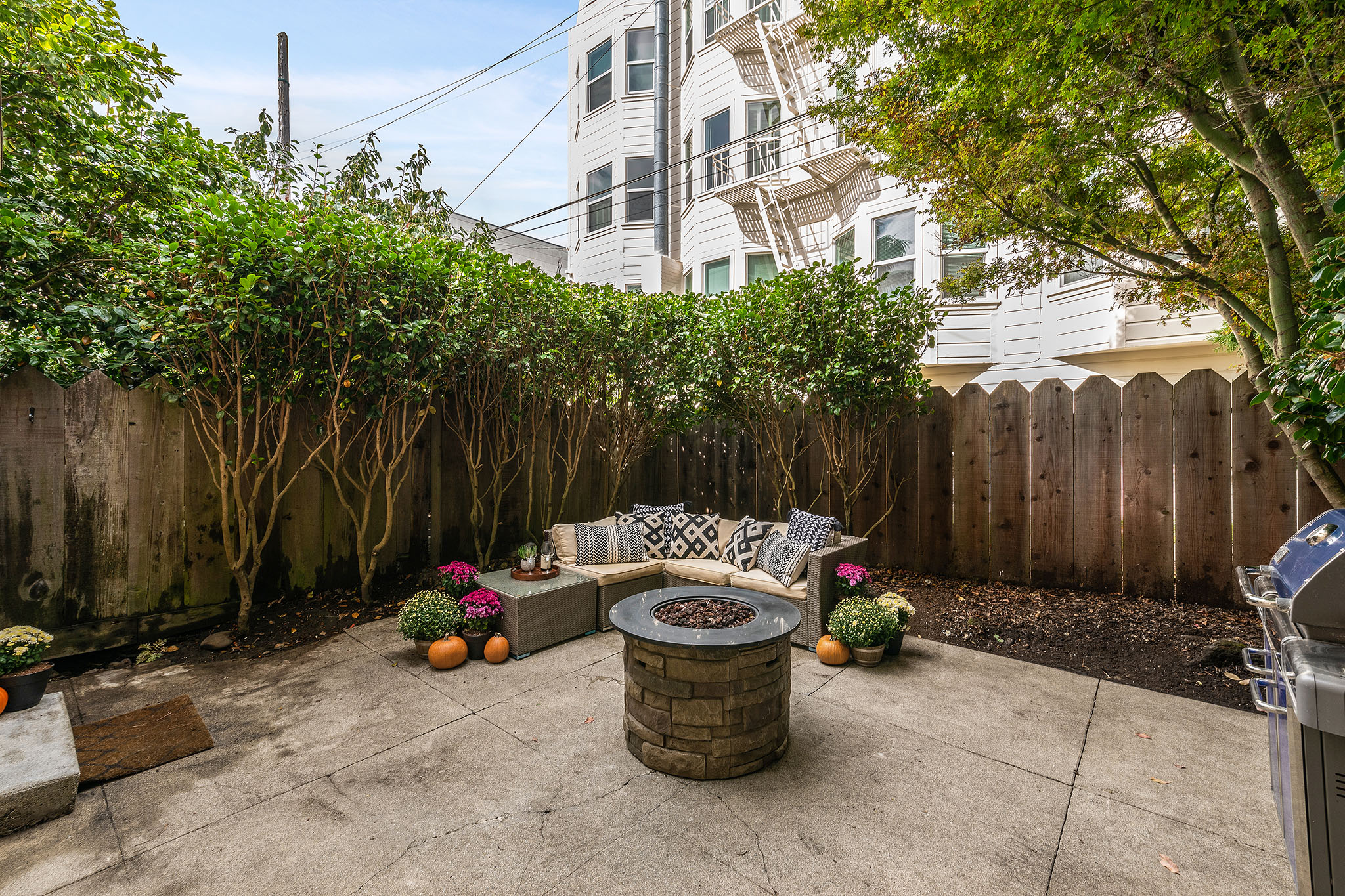 outdoor patio view - greenery and firepit