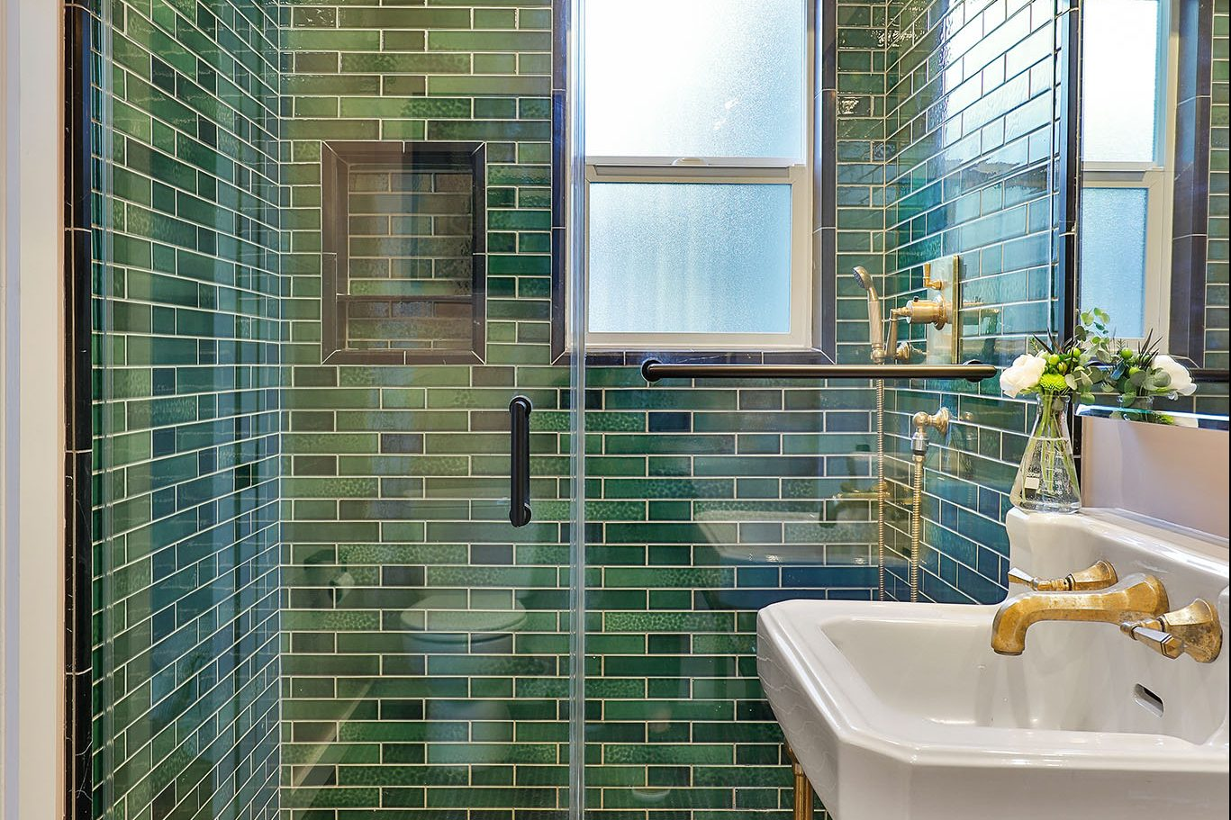 SF Real Estate - bathroom with green subway tile