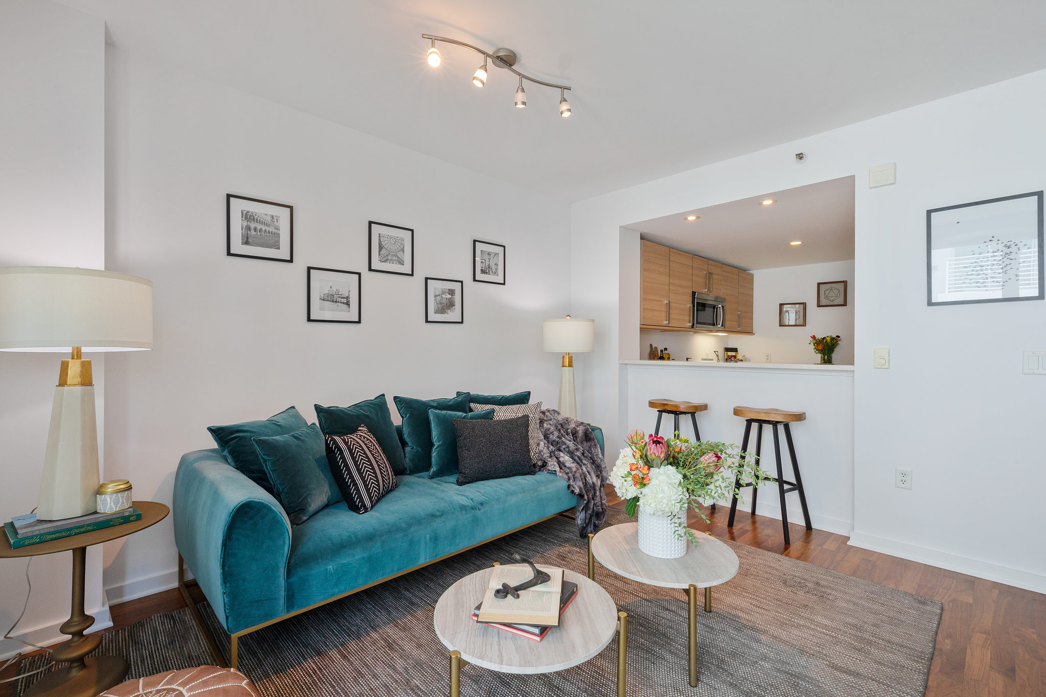 San Francisco Home - Living room that blue velvet couch and gallery wall