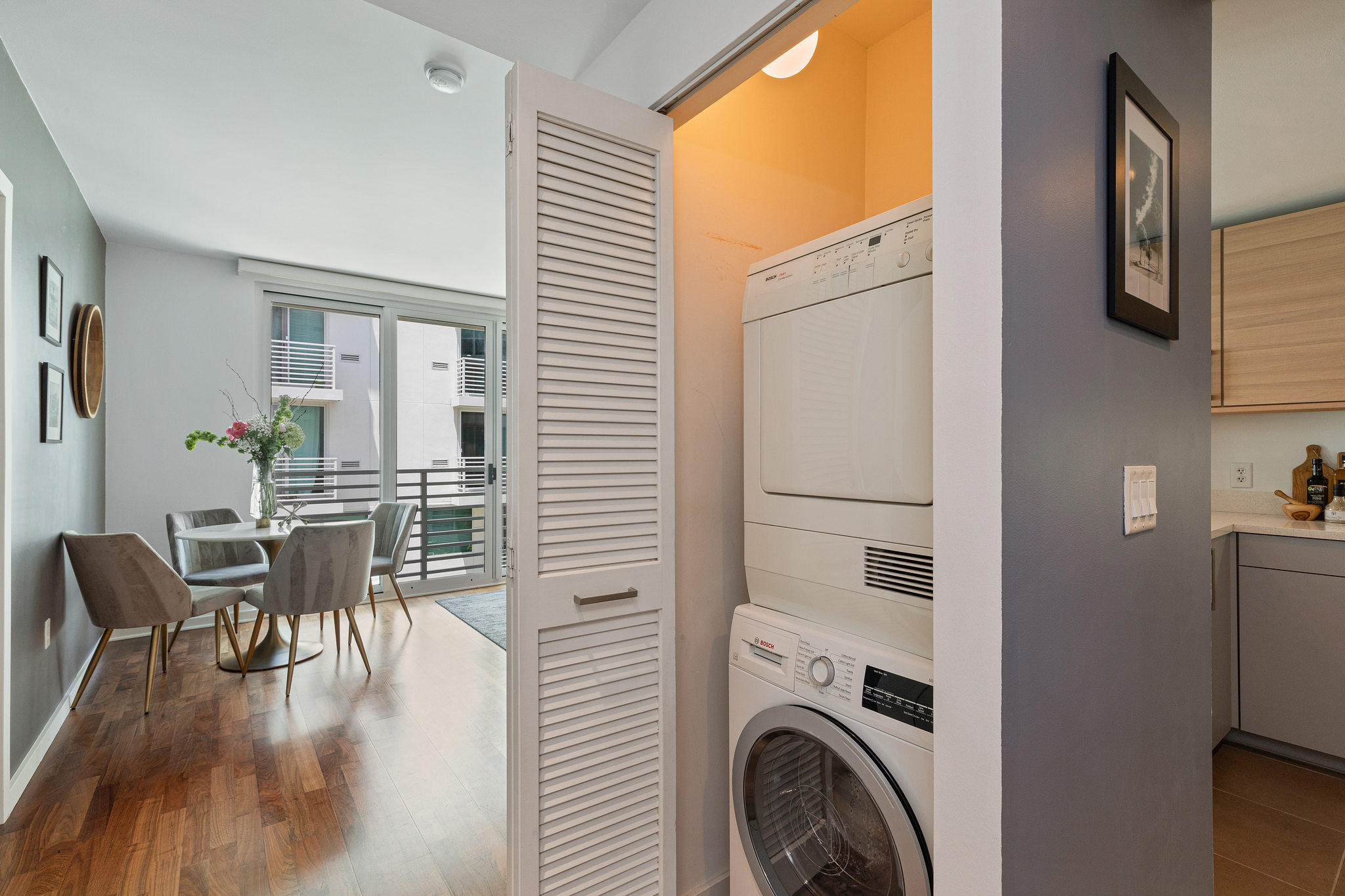 San Francisco Realty - laundry closet and kitchen view