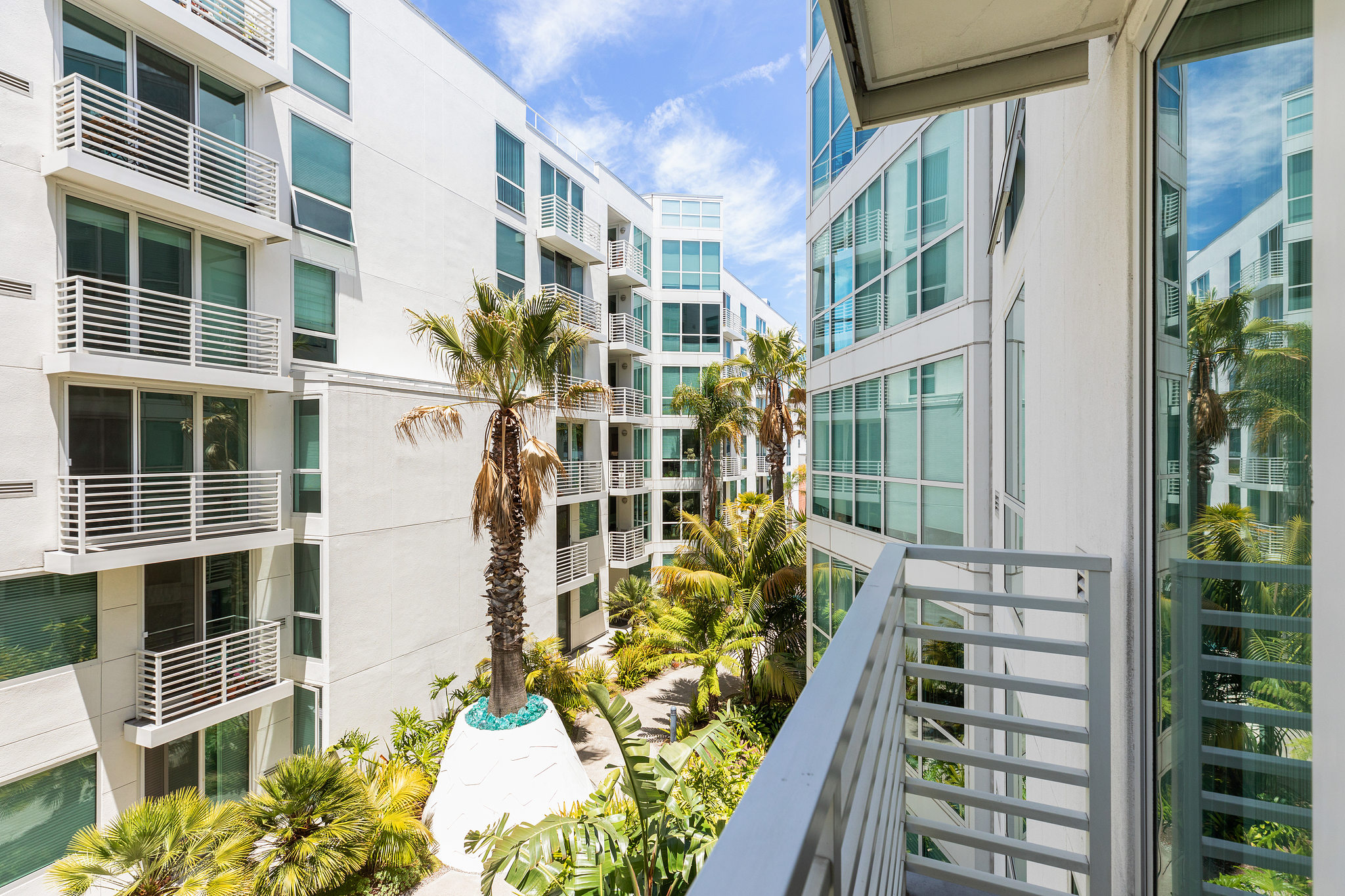 SF Realty - outside view with palm trees