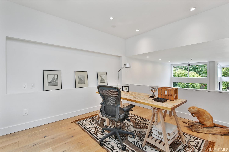 Wood desk in white, modern office