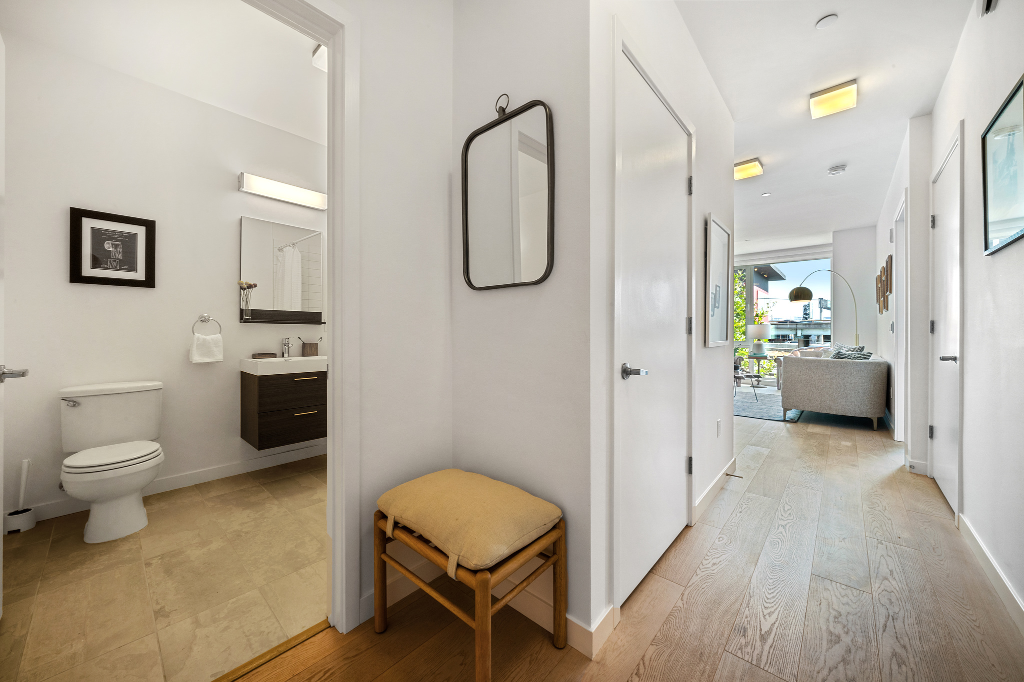 Hallway and Bathroom - SF Realty