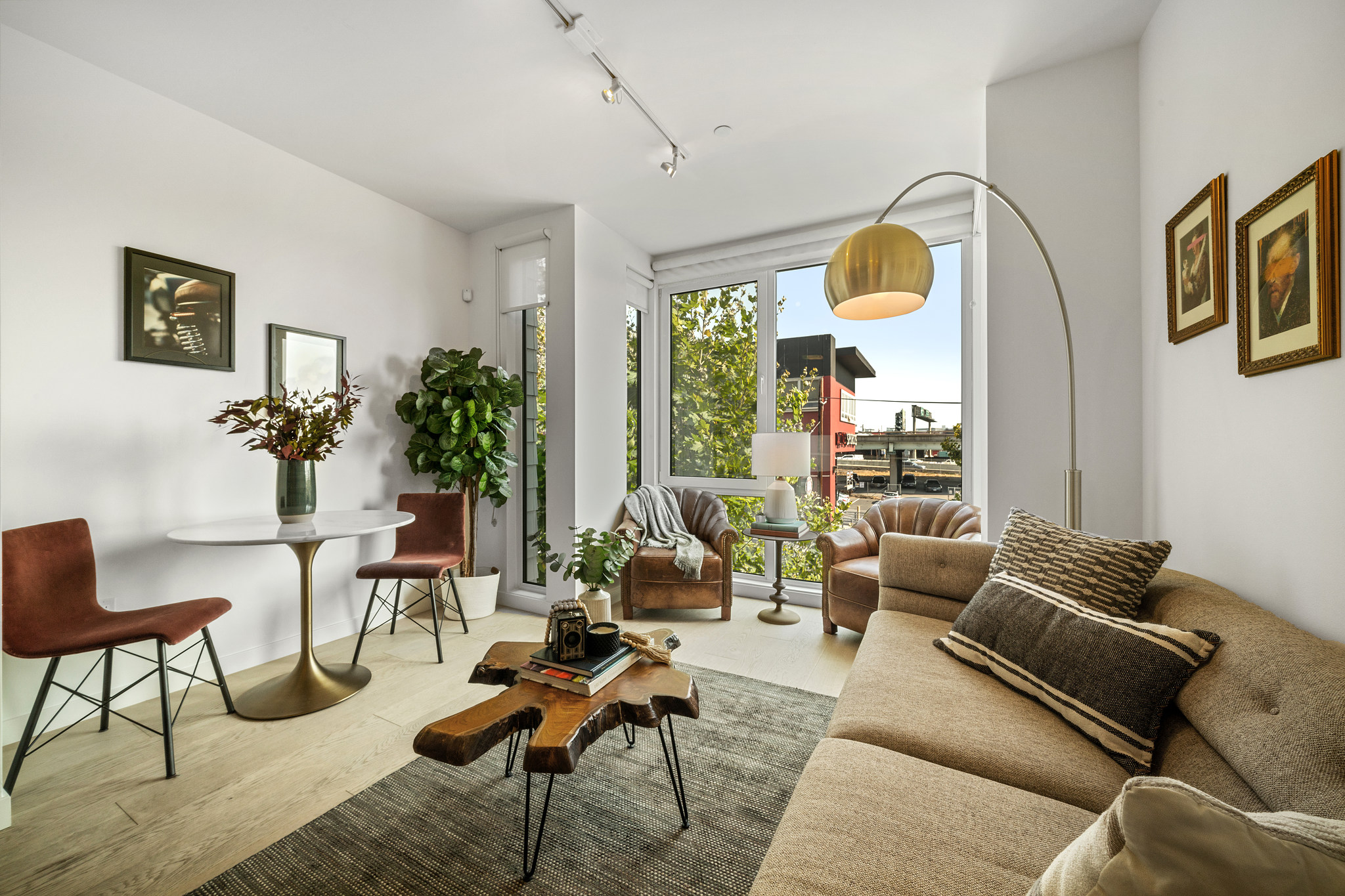 Living room and balcony view - Bay Area Apartment