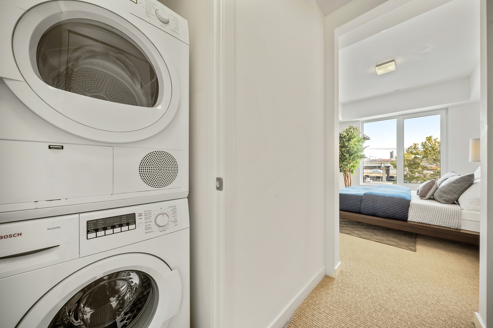 Hallway Washer and Dryer in SF Luxury Apartment